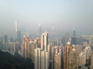 Tall buildings in Hong Kong.