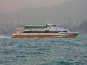 A Ferry from Hong Kong going to Macau.