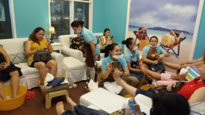 Nailaholics team giving free foot spa, foot massage, manicure and pedicure.