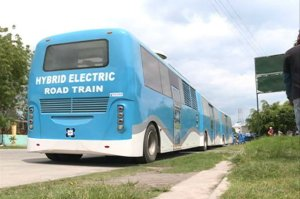 Blue Hybrid Electric Road Train